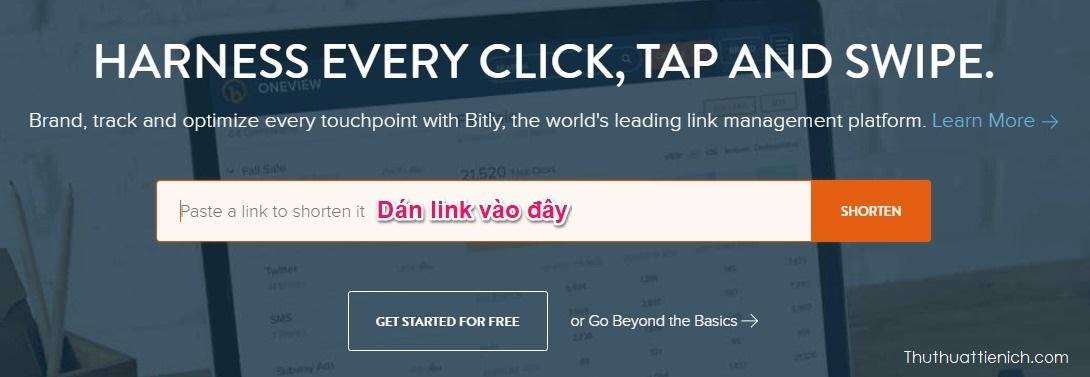 Sao chép link muốn rút gọn rồi dán vào khung Paste a link to shorten it
