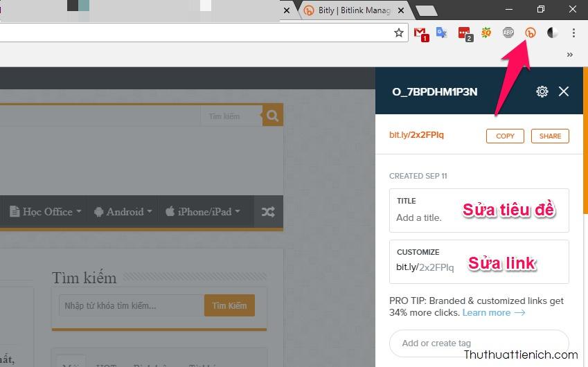 Cài đặt tiện ích Bitly cho trình duyệt web, dễ dàng rút gọn link và sửa link hơn chỉ với một nhấp chuột