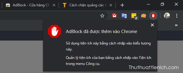 Đợi một chút bạn sẽ thấy thông báo AdBlock đã được thêm vào Chrome