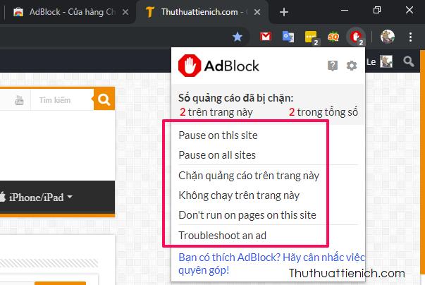 Khi nhấn vào biểu tượng AdBlock bạn sẽ thấy nhiều tuỳ chọn