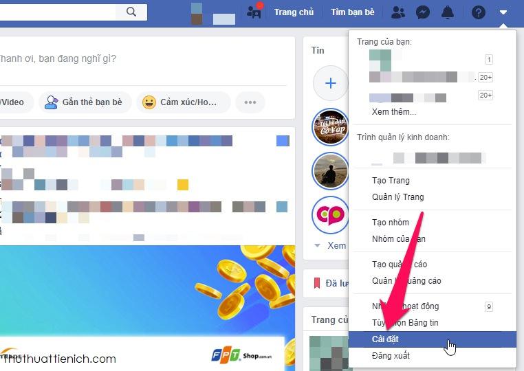 Nhấn nút mũi tên xổ xuống góc phải cửa sổ Facebook chọn Cài đặt