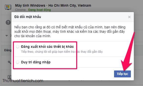 Vậy là bạn đã đổi mật khẩu thành công rồi đó, Facebook sẽ hỏi thêm bạn xem có muốn kiểm tra các thiết bị đã đăng nhập Facebook của bạn và đăng xuất khỏi tất cả các thiết bị không