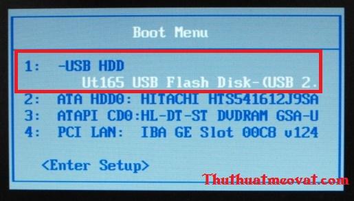 Chọn khởi động máy tính bằng USB