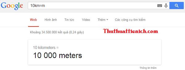 Chuyển đổi đơn vị bằng Google