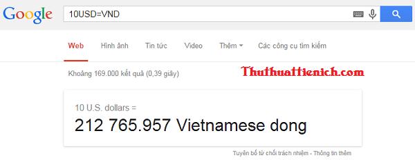 Chuyển đổi tiền tệ bằng Google