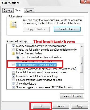 Cách làm hiện và sửa đuôi file trên windows 7