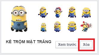Xóa nhãn dán Sticker Facebook