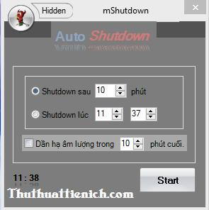 Phần mềm hẹn giờ tắt máy tính mShutdown