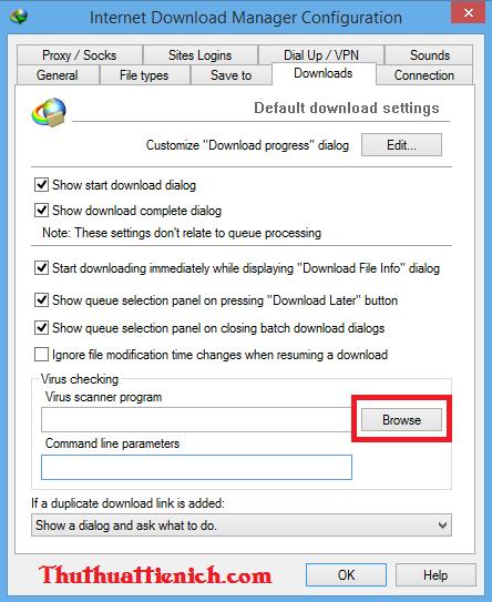 Cài đặt phần mềm diệt virus tự động quét file tải về với IDM