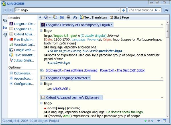 Giao diện từ điển Lingoes