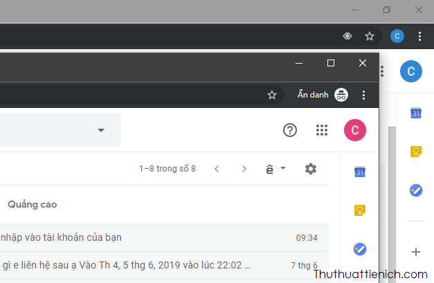 Đăng nhập nhiều tài khoản Gmail với chế độ ẩn danh của trình duyệt