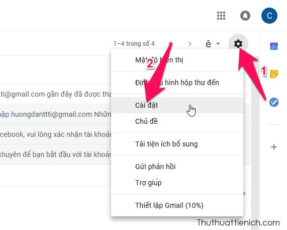 Trong giao diện hòm thư Gmail, bạn nhấn nút bánh xe (menu) chọn Cài đặt
