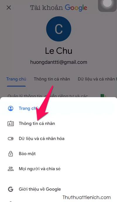 Nhấn chọn Thông tin cá nhân