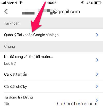 Chọn Quản lý Tài khoản Google của bạn