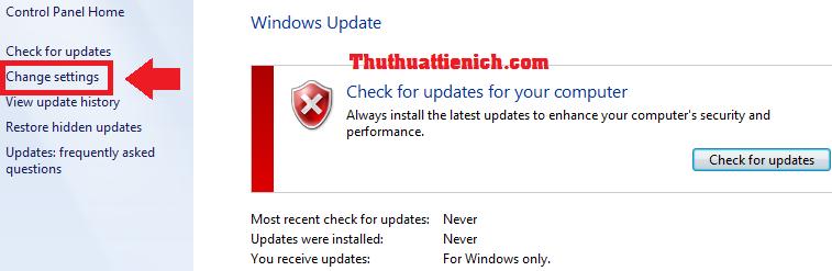 Cách tắt chế độ update trên Windows 7