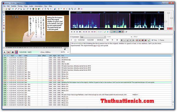 Phần mềm tạo Sub, phụ đề cho Video Aegisub