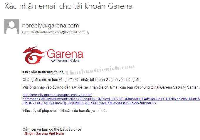 Xác nhận đăng ký tài khoản Garena