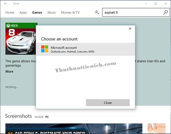 Bạn cần một tài khoản Microsoft để đăng nhập tải game