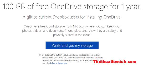OneDrive miễn phí 100GB dung lượng lưu trữ