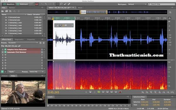 Giao diện phần mềm Adobe Audition CS5