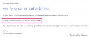 Mở email nhập ở trên lấy mã xác minh