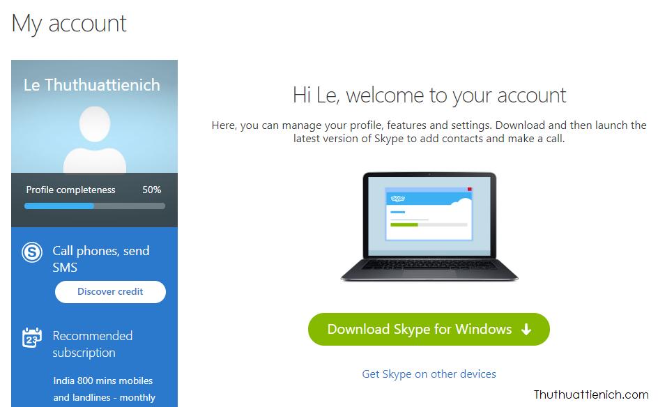 Vậy là bạn đã tạo xong một tài khoản Skype trên máy tính sử dụng email rồi đó