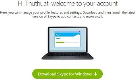 Thông báo đăng ký tài khoản Skype thành công