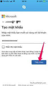 Đặt mật khẩu rồi nhấn nút Tiếp theo