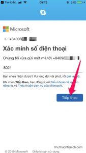Nhập mã xác minh gửi về số điện thoại rồi nhấn nút Tiếp theo
