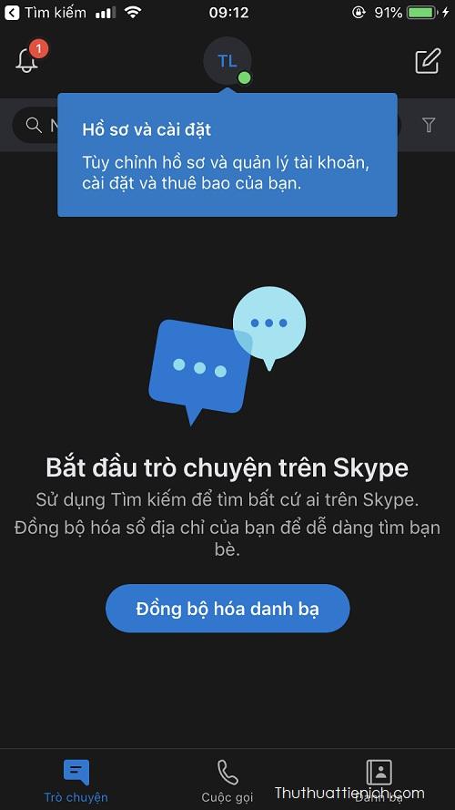 Giao diện Skype với chủ đề nền tối