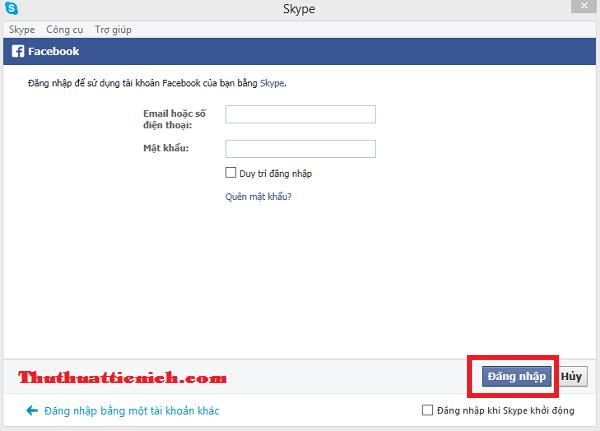 Đăng ký tài khoản Skype bằng tài khoản Facebook, tài khoản Microsoft