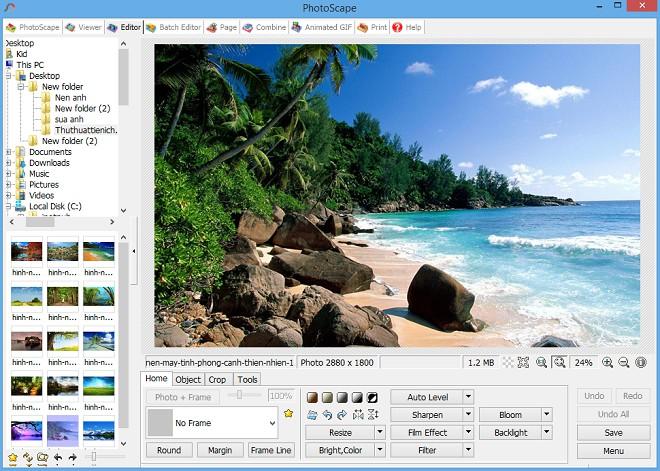 Tính năng chỉnh sửa ảnh Editor của phần mềm PhotoScape