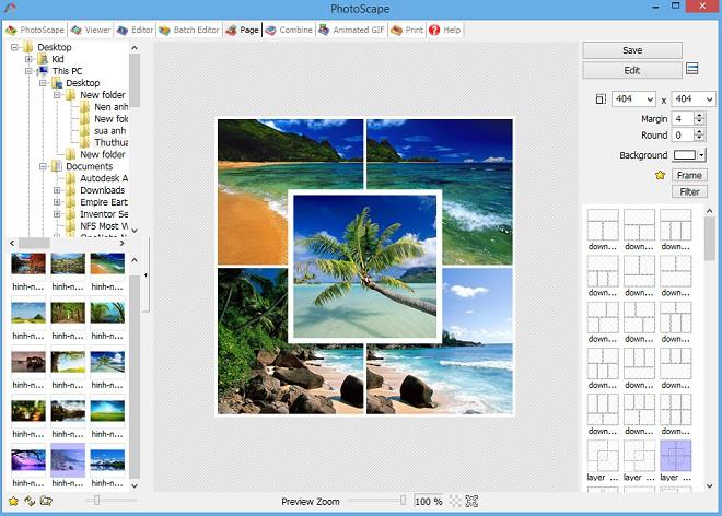 Tính năng ghép ảnh Page của phần mềm PhotoScape