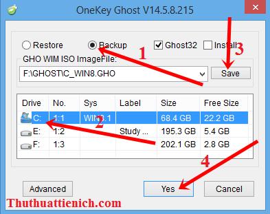 hướng dẫn tự tạo file ghost đơn giản với Onekey Ghost