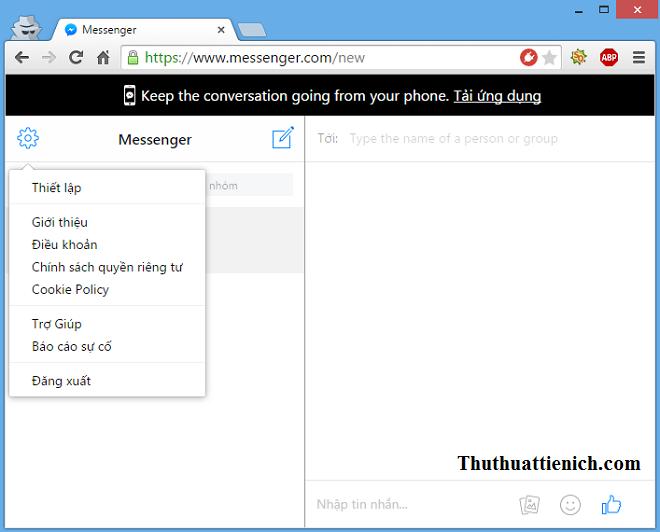 Giao diện Messenger.com