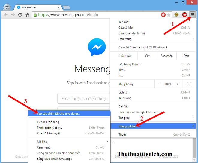 Hướng dẫn cách tạo Apps Messenger.com