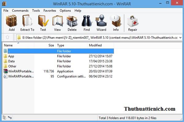 Giao diện phần mềm Winrar