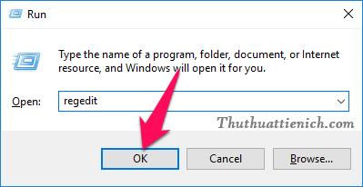 Windows + R sau đó nhập lệnh regedit