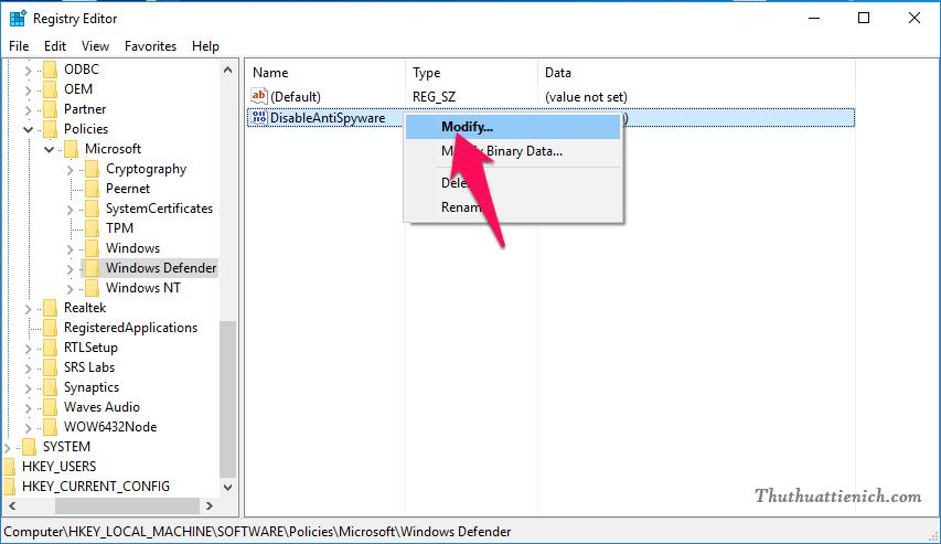 Nhấn đúp chuột vào phần DisableAntiSpyware này (hoặc nhấn chuột phải lên nó chọn Modify...)