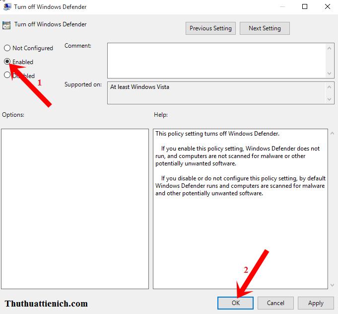 Hướng dẫn bật/tắt phần mềm Windows Defender trên Windows 10