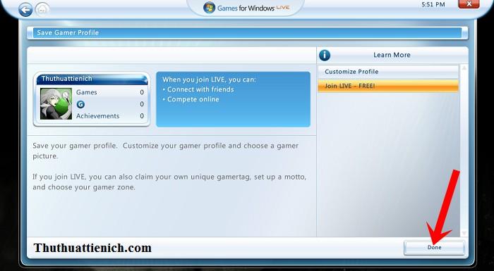 Cách tạo một tài khoản Game For Windows Live chơi game Offline