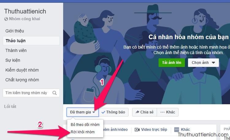 Nhấn nút Đã tham gia bên dưới ảnh bìa nhóm Facebook → Rời khỏi nhóm