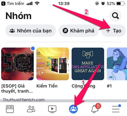 Nhấn vào biểu tượng nhóm Facebook trong menu → Tạo
