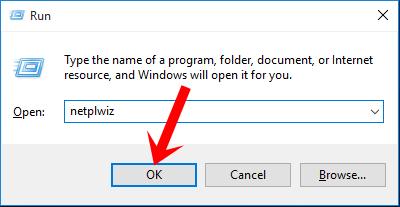 Nhấn tổ hợp phím Windows + R rồi nhập lệnh netplwiz