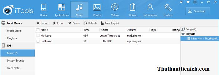 Nhạc đã được thêm vào iTools