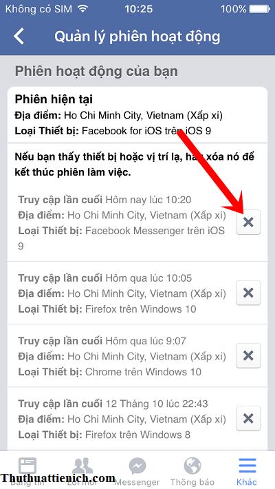 Xóa các phiên hoạt động có Loại thiết bị Facebook Messenger trên IOS