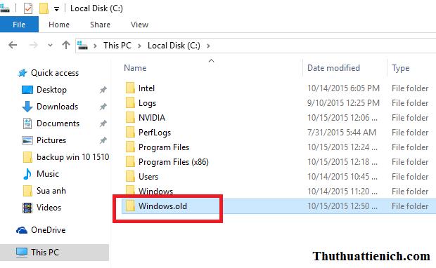 Thư mục Windows Old không thể xóa theo cách thông thường