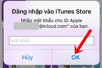 Nhập mật khẩu tài khoản Apple ID hoặc Touch ID