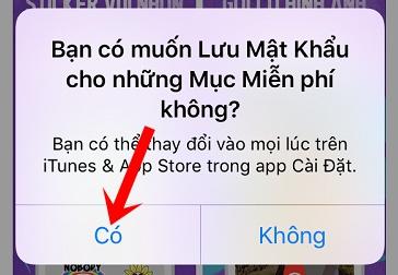 Nhấn nút Có để không nhập mật khẩu/Touch ID cho mục miễn phí nữa