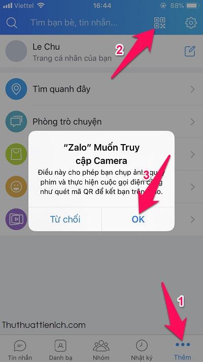Mở phần quét mã QR trên ứng dụng Zalo